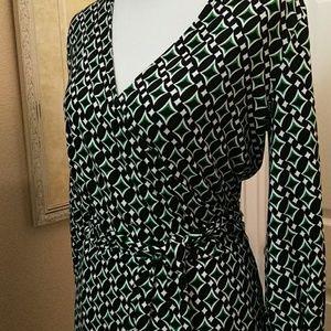 Ann klein, L, grn/blk/wht, wrap dress